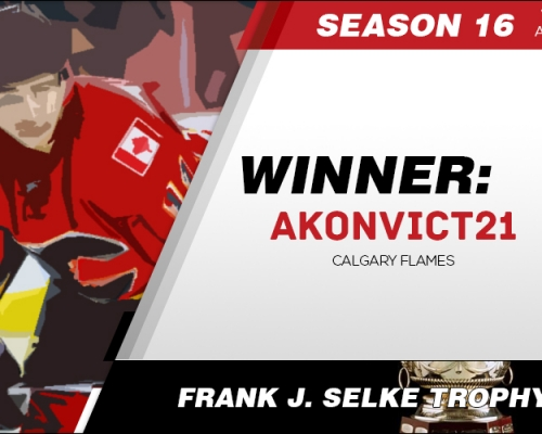 Season 16 Frank J. Selke Trophy Winner