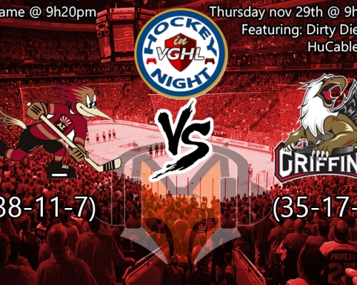Hockey night in VGHL: AHL special Roadrunners vs Griffins