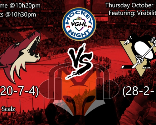 Hockey night in vghl : Arizona vs Pitsburgh